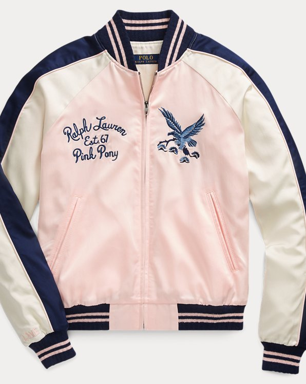 Pink Pony Satin Bomber Jacket
