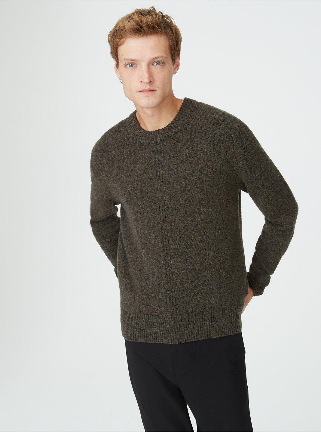 클럽 모나코 Club Monaco Front Rib Crew Sweater,Dark Olive