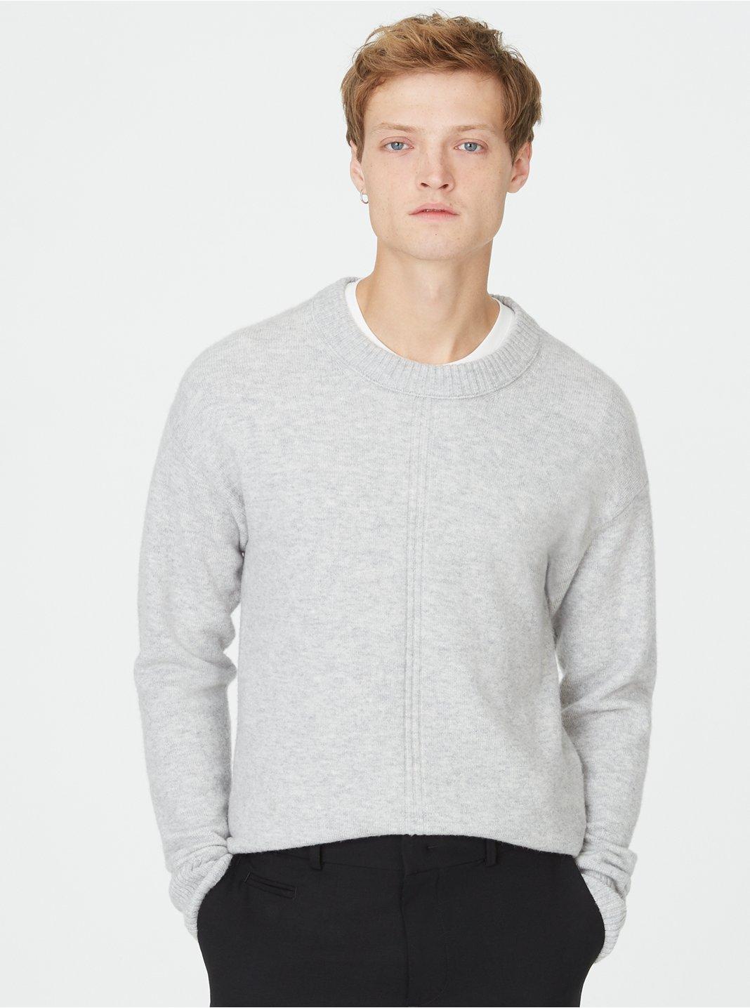 클럽 모나코 Club Monaco Front Rib Crew Sweater,Light Grey