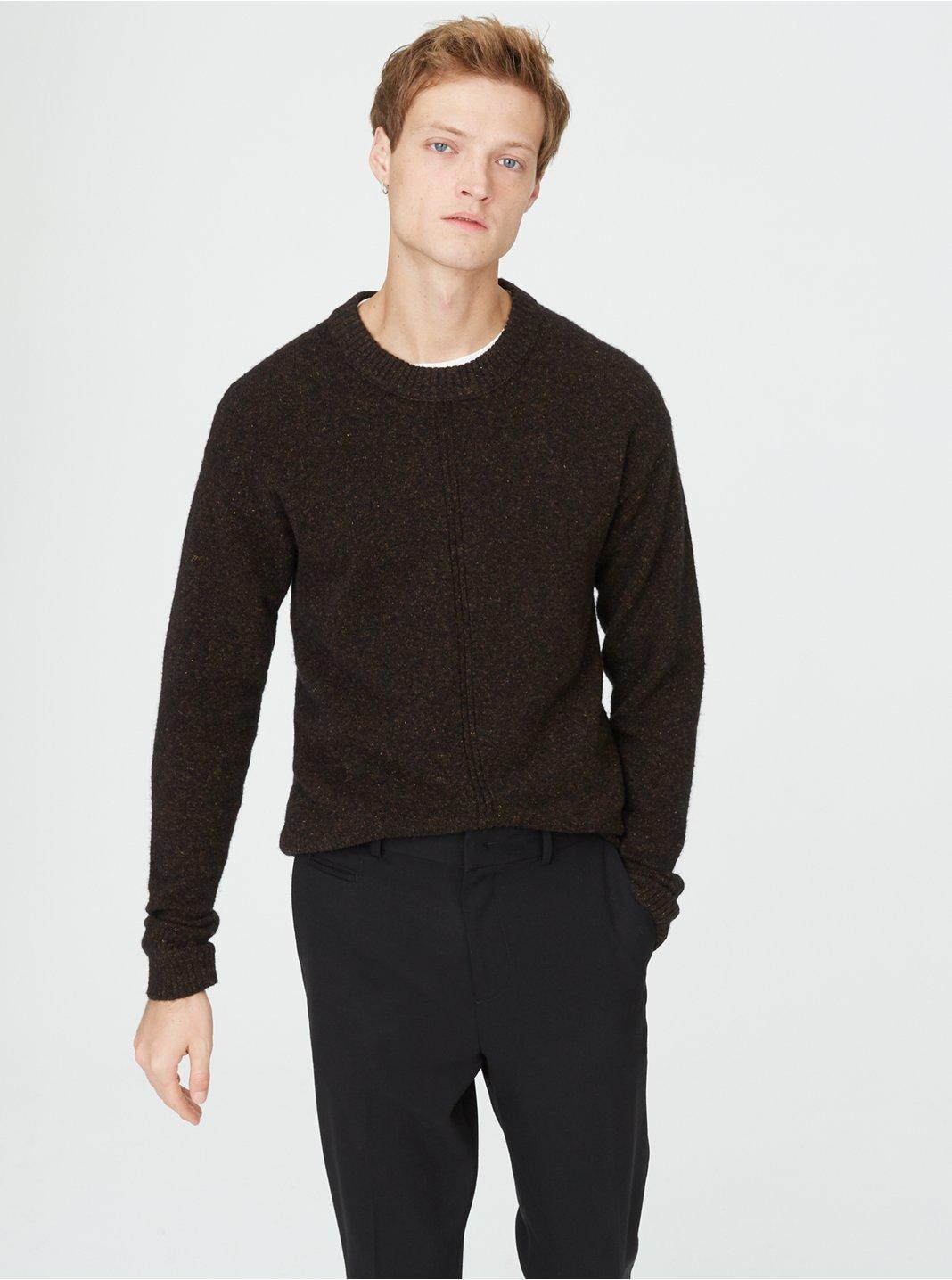 클럽 모나코 Club Monaco Front Rib Crew Sweater,Brown