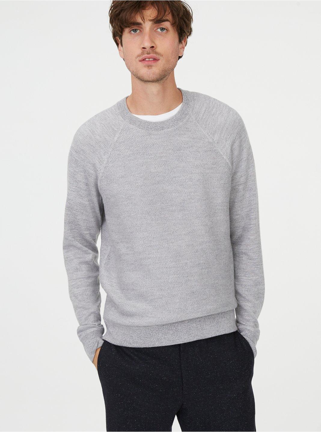 클럽 모나코 Club Monaco Twill Stitch Raglan Sweater,Light Grey