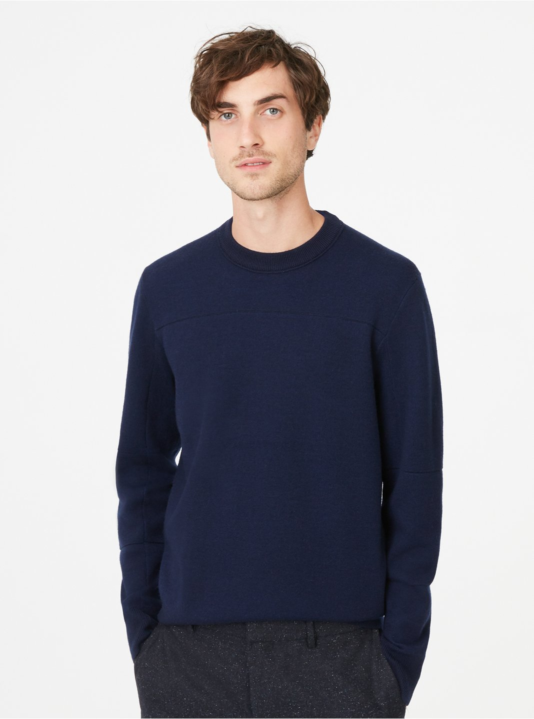 Double-Knit Seamed Crew