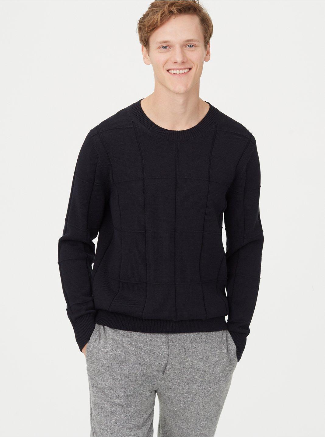 클럽 모나코 Club Monaco Grid Crew Sweater,Black