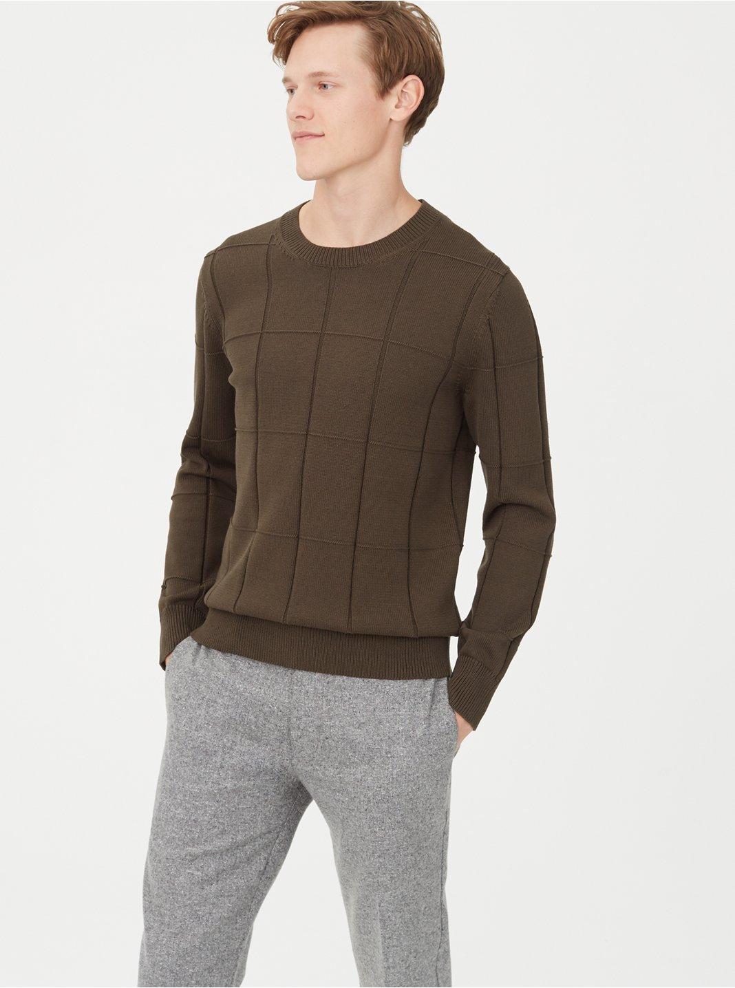 클럽 모나코 Club Monaco Grid Crew Sweater,Field