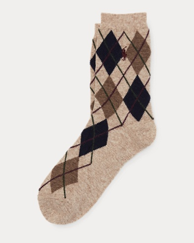 Argyle Wool-Blend Boot Socks