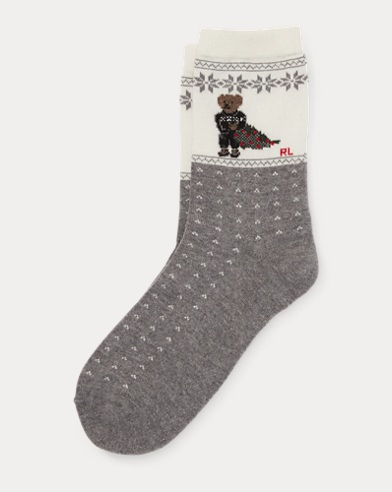Holiday Polo Bear Boot Socks
