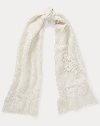 Chain-Stitch Anchor Wool Scarf