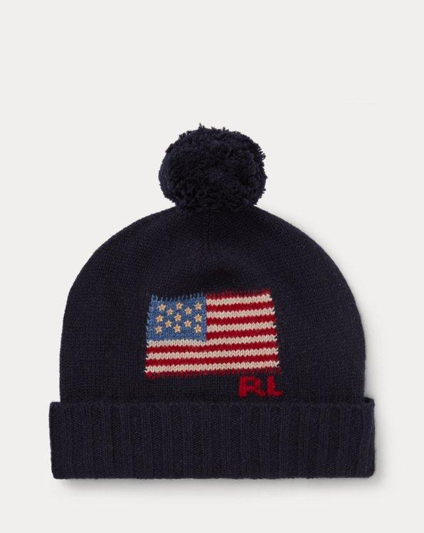 Bonnet en laine à pompon et drapeau