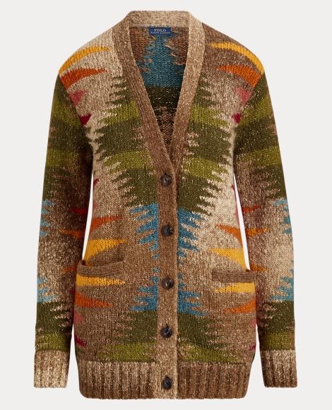 Geometric Wool-Blend Cardigan
