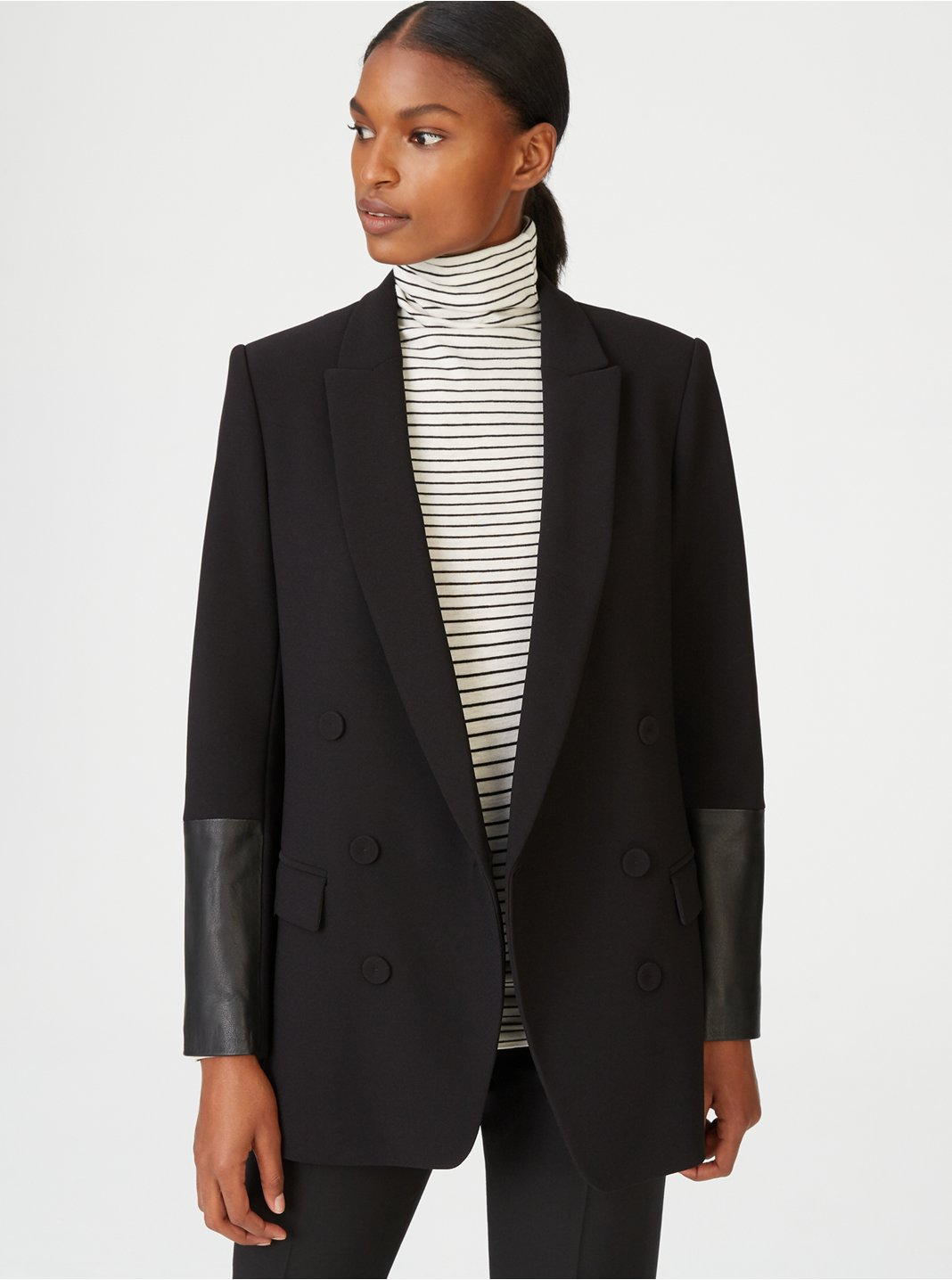 Torrie Leather Cuff Blazer