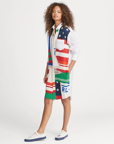 Sailboat-Print Shirtdress