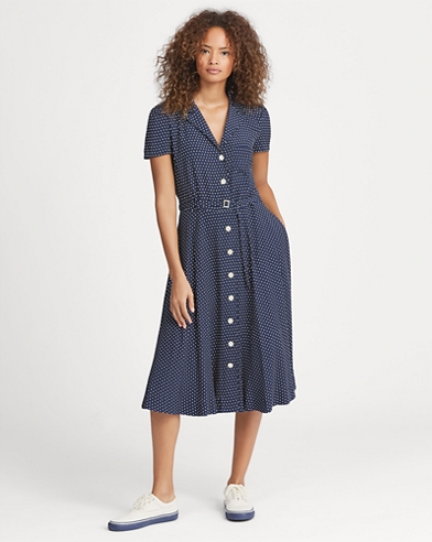 Polka-Dot Crepe Dress