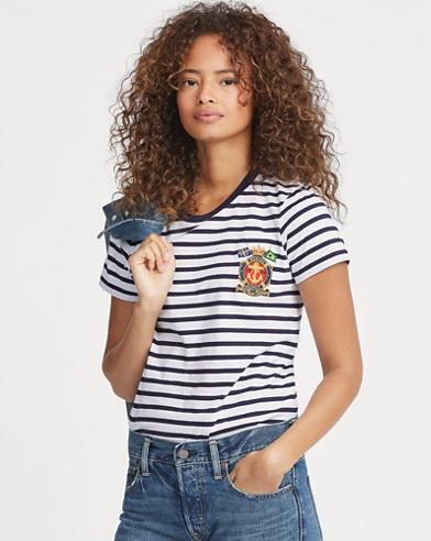 T-shirt rayé en coton avec écusson