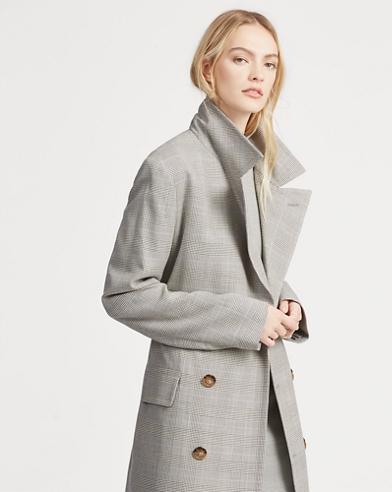 Glen Plaid Tweed Trench Coat