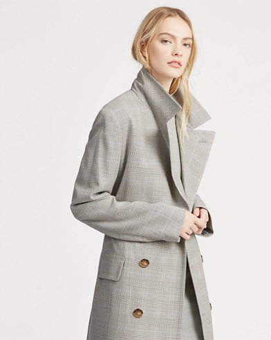 a8a19a4705fb Glen Plaid Tweed Trench Coat