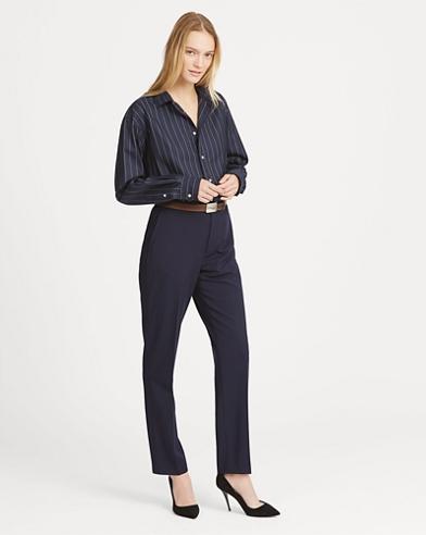 Wool-Blend Straight Trouser