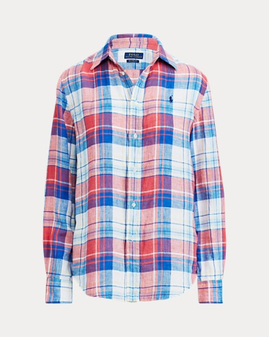 343dbd605bf43e Relaxed Fit Plaid Linen Shirt. Take ...