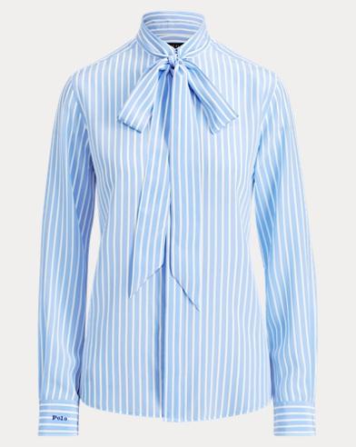 Striped Necktie Silk Shirt