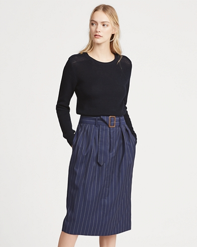 Pinstripe Wool Pencil Skirt