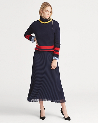 081fd7eb9e2 Pleated Georgette Midi Skirt. Polo Ralph Lauren
