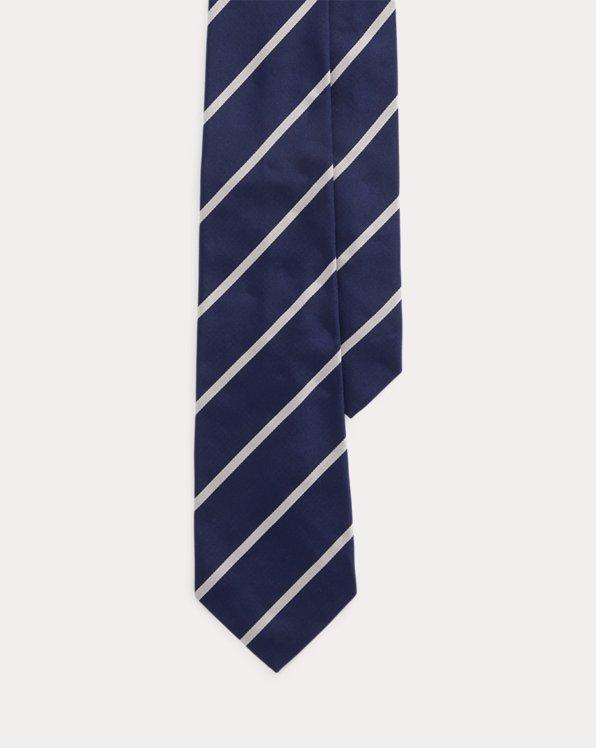 Cravate rayée en reps de soie