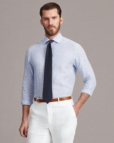 Mini-Stripe Linen Shirt