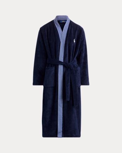 Bata de kimono de algodón y ante