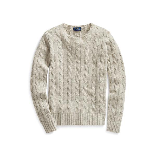 폴로 랄프로렌 Polo Ralph Lauren Cable Knit Cashmere Sweater,Light Vintage Heather