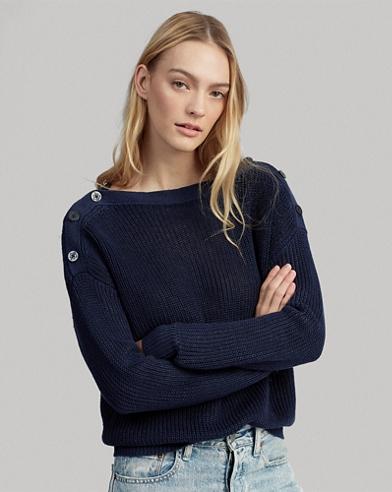 Button-Shoulder Linen Sweater