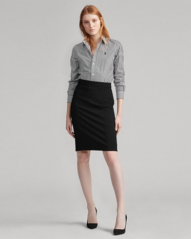 Buckled Wool Pencil Skirt