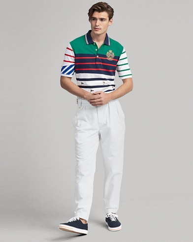 Classic Fit Striped Mesh Polo