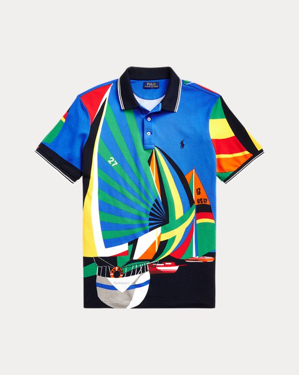 Classic Fit Sailing Boat Mesh Polo