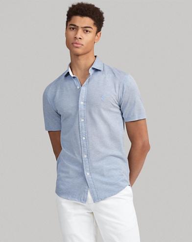 Camicia in piqué Custom Slim-Fit