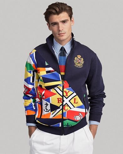 Veste d'athlétisme tricot double à drapeau