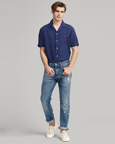 Camicia in misto lino Classic-Fit