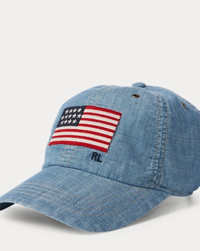 Flag Chambray Baseball Cap