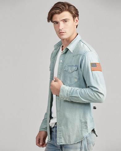 Flag Denim Western Shirt