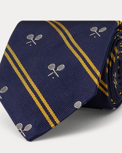 Tennis Racquet Silk Narrow Tie