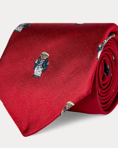 Captain Bear Silk Narrow Tie