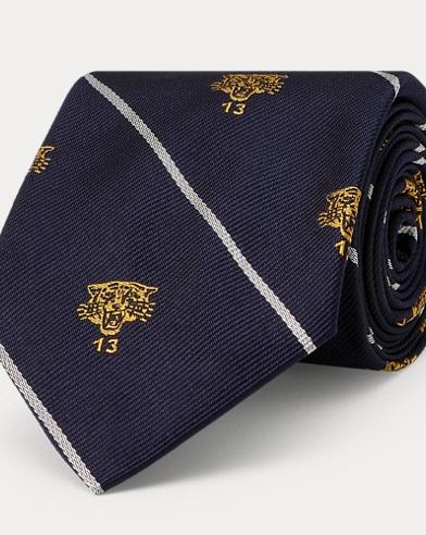 Cravate club étroite en soie lion