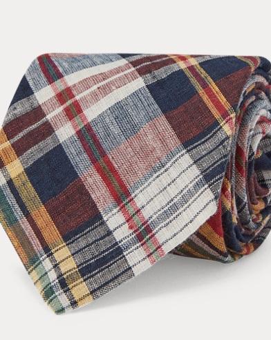 Corbata estrecha de algodón madrás
