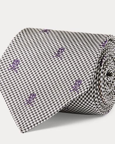Check & Skull Silk Narrow Tie