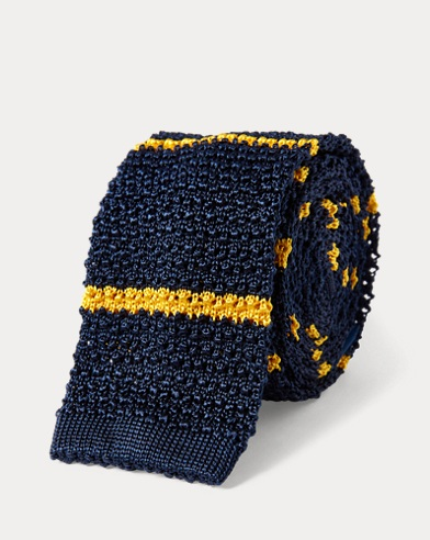 Striped Knit Silk Narrow Tie