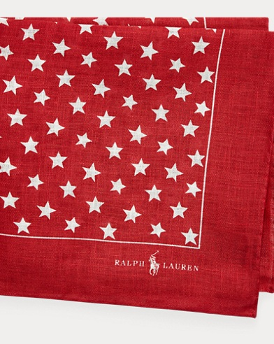 Star-Print Linen Pocket Square