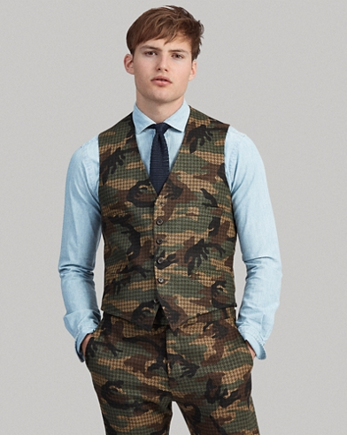 Gilet Polo in tweed camouflage