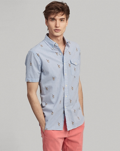 Classic Fit Striped Bear Shirt