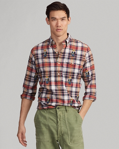 Classic Fit Bear Plaid Shirt