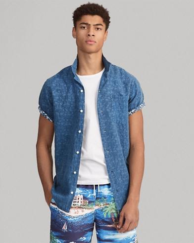 Classic Fit Print Linen Shirt