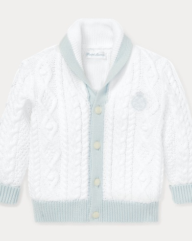 Aran-Knit Cotton Cardigan