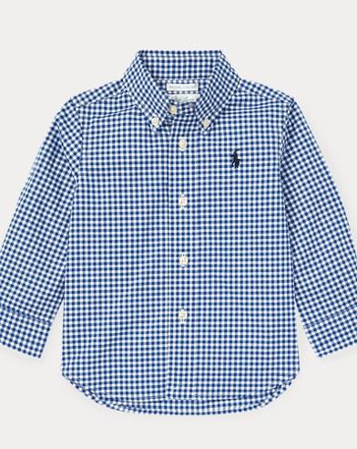 Camisa en popelina de algodón de cuadros vichy